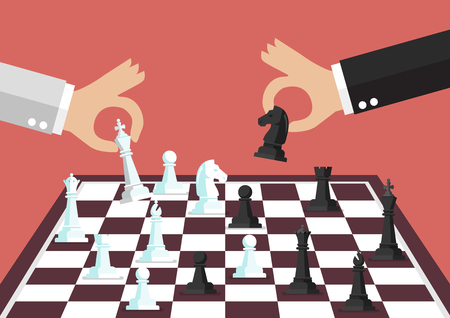 Two business people playing chess. Concept of business competition Standard-Bild - 115190058