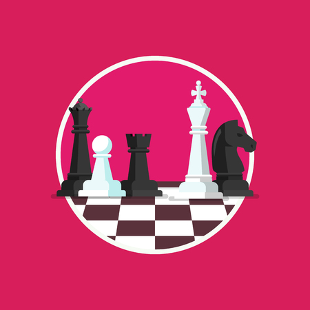 Business strategy with chess figures on a chess board. Flat design icon