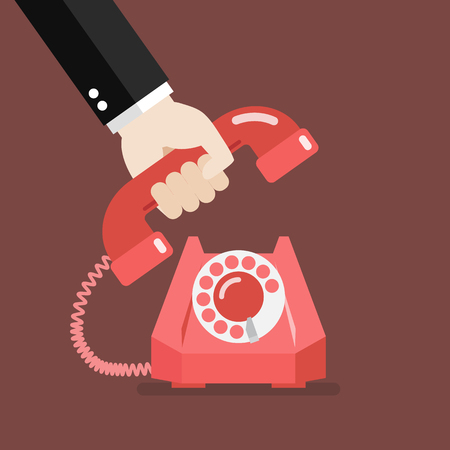 Hand picking up the phone. Vector illustration Stock Illustratie