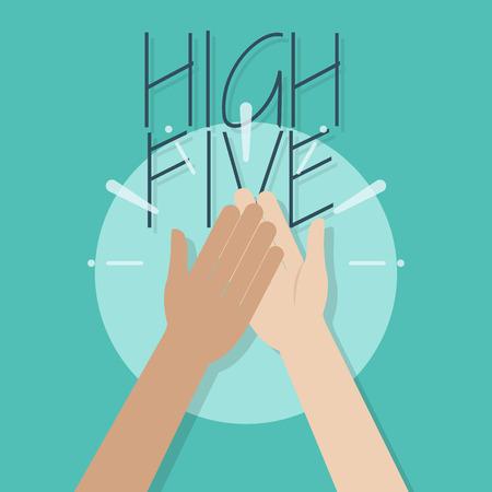 Illustration de cinq hauts. Deux mains applaudissant