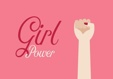 Vrouw vuist hand en inscriptie Girl power. Vector illustratie poster Vector Illustratie