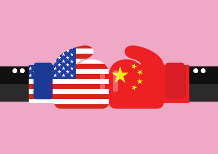Conflict between USA and China. Two hand with boxing gloves fighting. Standard-Bild - 115115513