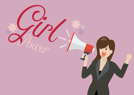 Business woman holding a megaphone with word girl power. Feminist concept Standard-Bild - 115058909