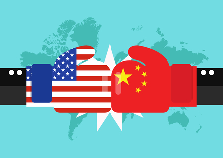 Conflict between USA and China with world map background. Two hand with boxing gloves fighting. 일러스트