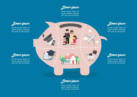 Piggy bank saving money portion for life infographic. Vector illustration Standard-Bild - 114968050