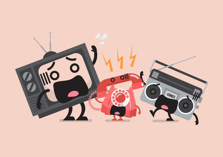 television and radio be frightened from telephone ringing. Funny cartoon emoticons Standard-Bild - 114968052
