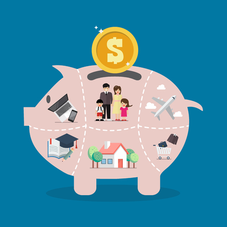 Piggy bank saving money portion for life. Vector illustration Ilustração