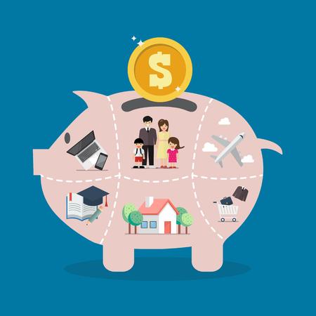 Sparschwein spart Geld für das Leben. Vektor-Illustration Vektorgrafik