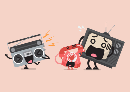 Singing radio character annoying telephone and television. Funny cartoon emoticons Standard-Bild - 114960346
