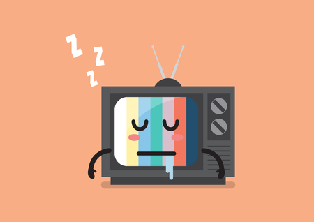 Sleeping television character. Vector illustration Standard-Bild - 114960347