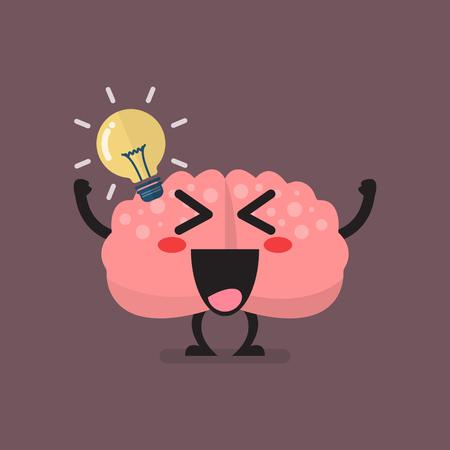 Brain Character Has a Great Idea. Vector illustration Standard-Bild - 114937287