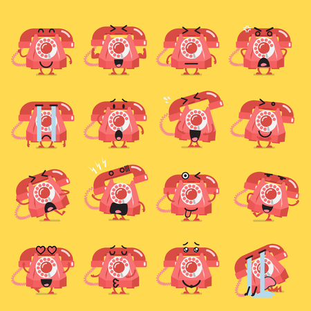 Vintage telephone character emoji set. Funny cartoon emoticons Standard-Bild - 114937290