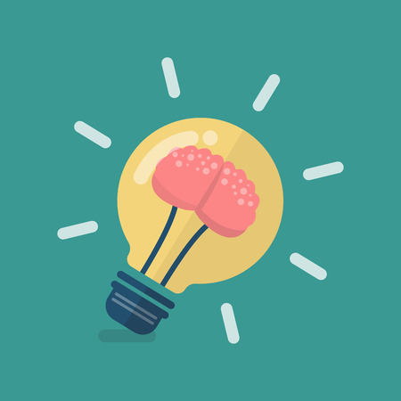 Human brain in lightbulb idea. Vector illustration Stock Illustratie