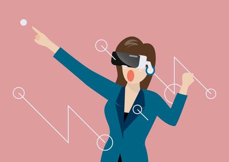 Woman using virtual reality headset. vector illustration Standard-Bild - 114865702