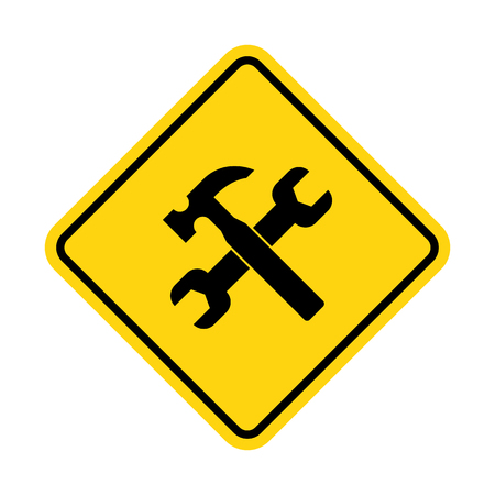 Yellow under construction sign. Vector illustration Standard-Bild - 114865703