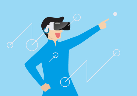 Man using virtual reality headset. vector illustration Standard-Bild - 114806761