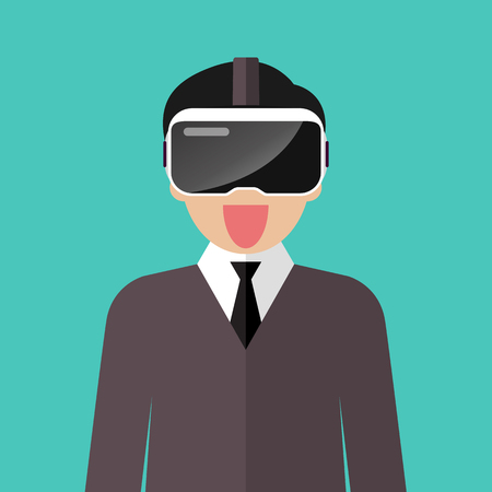 Man wearing virtual reality headset. Vector illustration Standard-Bild - 114786349