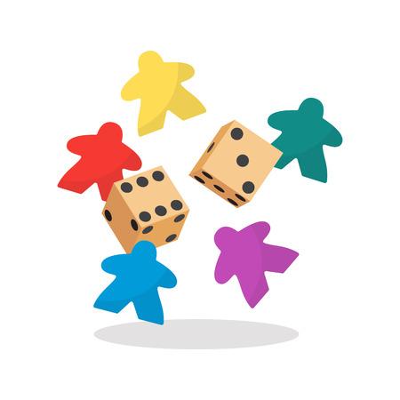 Ilustración de vector de meeple y dados multicolor. Símbolo de los juegos de mesa familiares