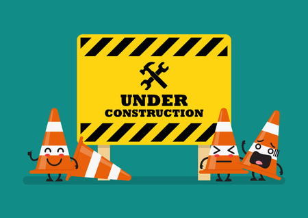 Under construction sign and traffic cones character. Vector illustration Standard-Bild - 114786351
