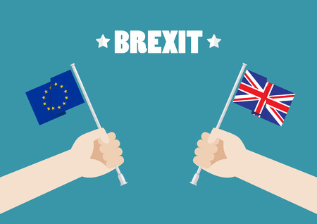 Hands holding European Union and British Union Jack flags. Vector illustration Standard-Bild - 114688301