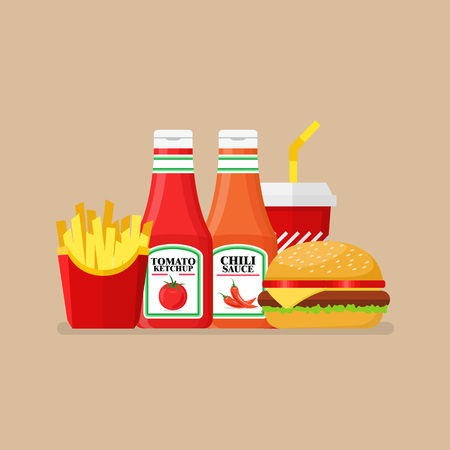 Hamburger french fries and soda with tomato and spicy sauce. Flat style vector illustration Standard-Bild - 112227072