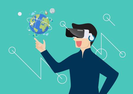 Man in virtual reality. vector illustration Standard-Bild - 112227073