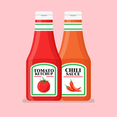 Tomato ketchup bottle in flat style. Vector illustration Standard-Bild - 112227075