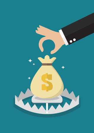 Hand try to pick up money in the trap. Finance risk concept Vector illustration Standard-Bild - 112004567