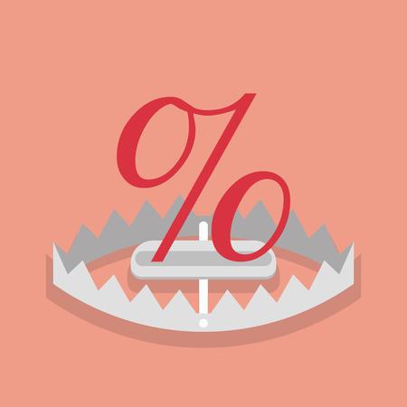 Percentage sign mark in the trap. Vector illustration Standard-Bild - 112004568