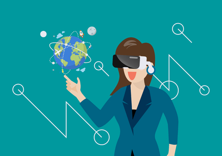 Woman in virtual reality. vector illustration