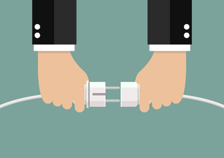 Man holding in hand plug and socket to connect. Vector illustration