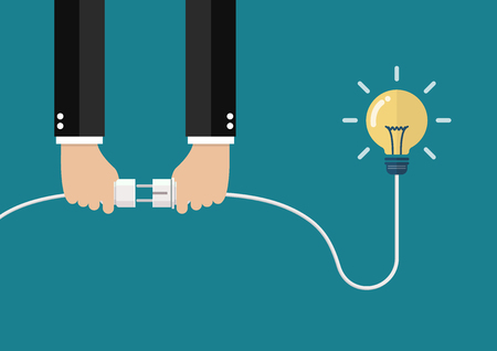 Man holding in hand plug and socket to connect an idea. Vector illustration Standard-Bild - 111923937