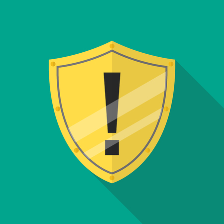 Protective shield alert. Flat icon with long shadow Standard-Bild - 110660655