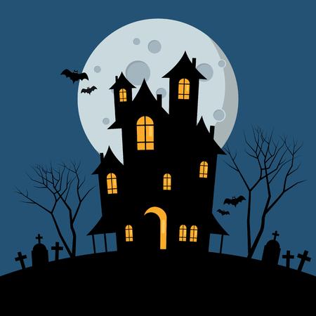 Halloween haunted house. Vector illustration Standard-Bild - 111889351