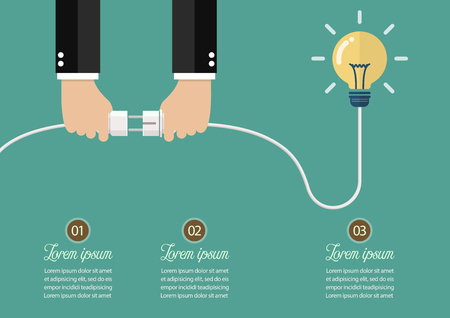 Man holding in hand plug and socket to connect an idea. Vector illustration Standard-Bild - 111889352