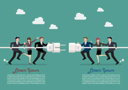 Businessmen connecting hold plug and outlet in hand infographic. Vector illustration Standard-Bild - 111855407