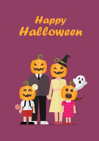 Halloween family with pumpkin costumes. Vector illustration Standard-Bild - 110660659
