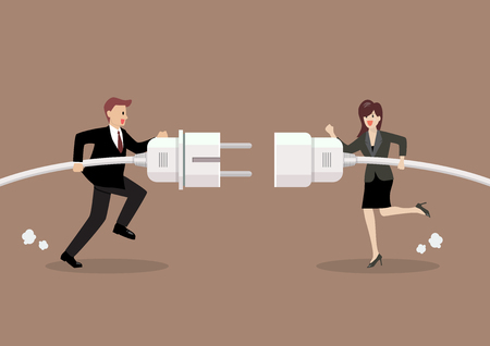 Businessman and woman connecting hold plug and outlet in hand. Business concept Standard-Bild - 111804196