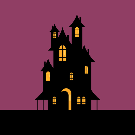 Halloween Spooky house. Vector illustration Standard-Bild - 111804197