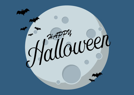Bats flying over moon. Happy Halloween Vector illustration Standard-Bild - 110660661