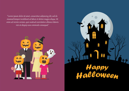 Halloween family and haunted house greeting card. Vector illustration Standard-Bild - 111654033