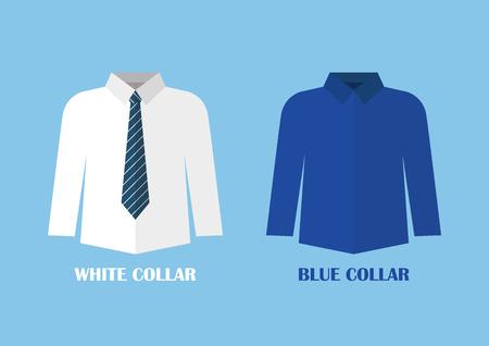 White and Blue shirt vector illustraton. White and blue collar concept Standard-Bild - 110660662