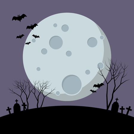 Halloween night with bats flying over moon. Happy Halloween Vector illustration Standard-Bild - 111593115