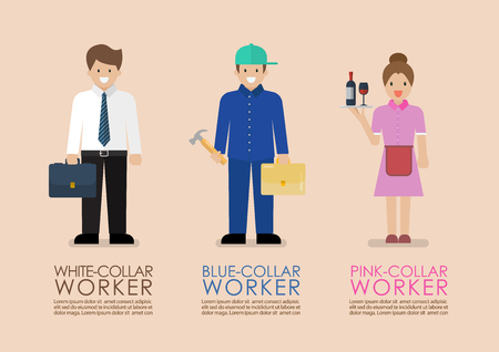 White Blue and Pink collar workers infographic. Occupational classifications Flat style concept  Vector illustration Stock Illustratie