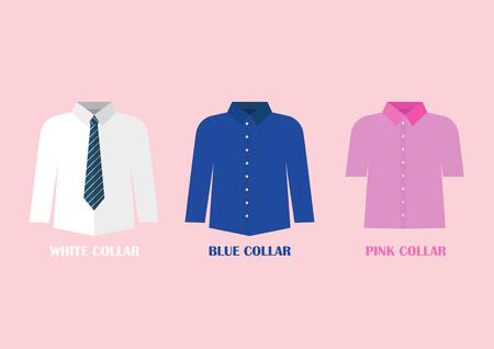 White and Blue shirt vector illustraton. White and blue collar concept Standard-Bild - 111593116