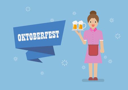 Oktoberfest with Waitress character serving glass of beer. Greeting card Standard-Bild - 111563530