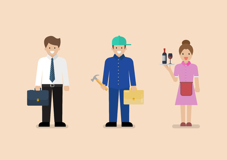White Blue and Pink collar workers. Occupational classifications Flat style concept  Vector illustration Standard-Bild - 110660666