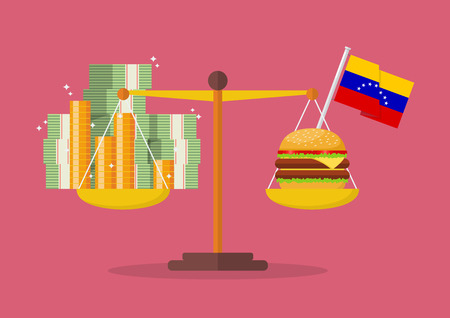 Venezuela hyperinflation concept. Money and Burger balance on the scale. Standard-Bild - 110660667