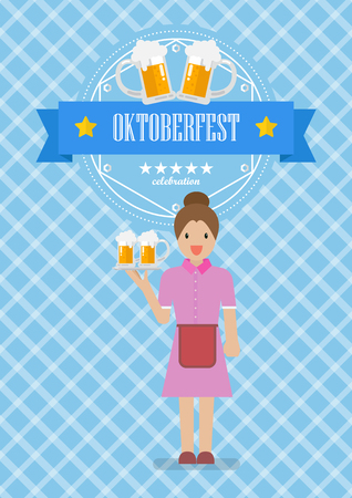 Waitress character serving glass of beer with Oktoberfest badge. Vector illustration Standard-Bild - 110660668