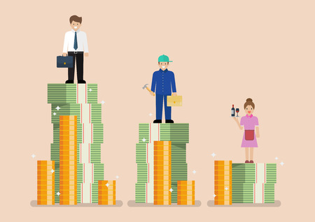 Comparison income between white blue and pink collar workers. Occupational classifications Flat style concept Vector Illustration